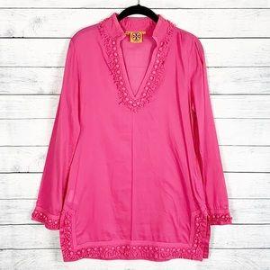 Tory Burch Hot Pink Fringe Cotton Tunic